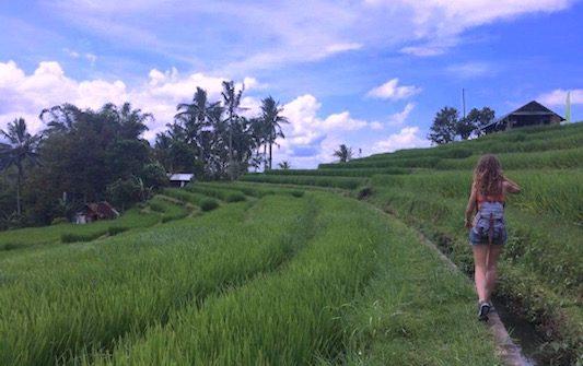 walking through the Jatiluwih rice terrace in my travel to Bali