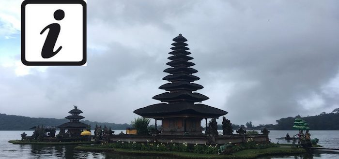 Pura Ulun Danu Bratan and info sign for travel tips for Bali