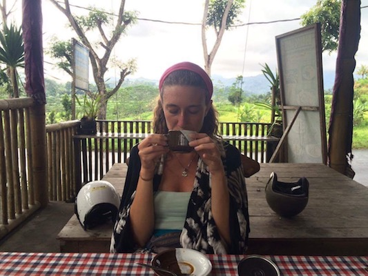 having a Bali coffee in Muncan
