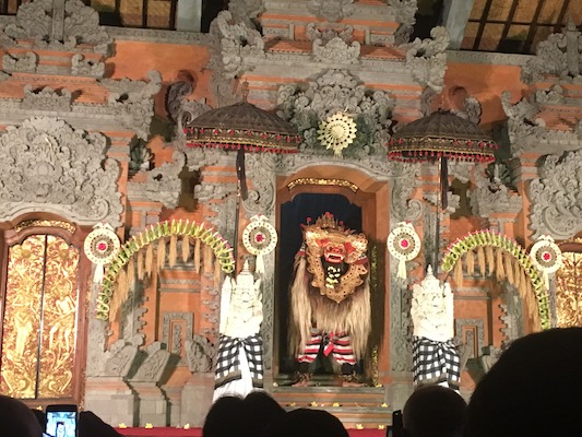 the Barong dance at the Ubud Palace