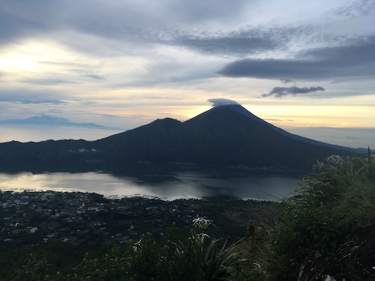 view from the top of the Batur Volcano at sunrise