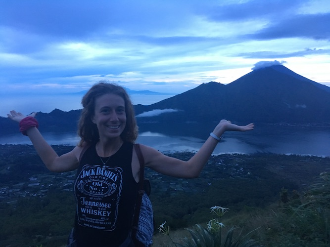 waiting for the sunrise on top of the Batur Volcano