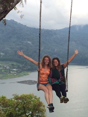 us on a swing over the Bratan Lake