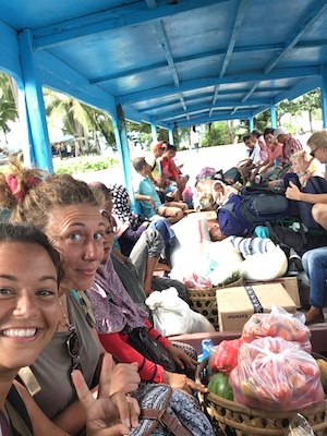 on a local boat from Lombok to Gili Air