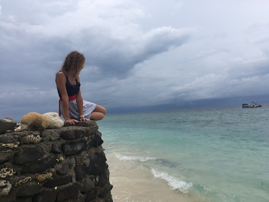 saying goodbye to Gili Meno from a cliff