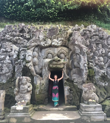 at the entrance of the elephant cave of Goa Gajah