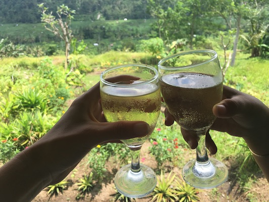 a toast on a restaurant on the Sidemen Road with a view over the rice terrace