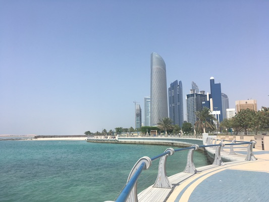 view from the Corniche of Abu Dhabi