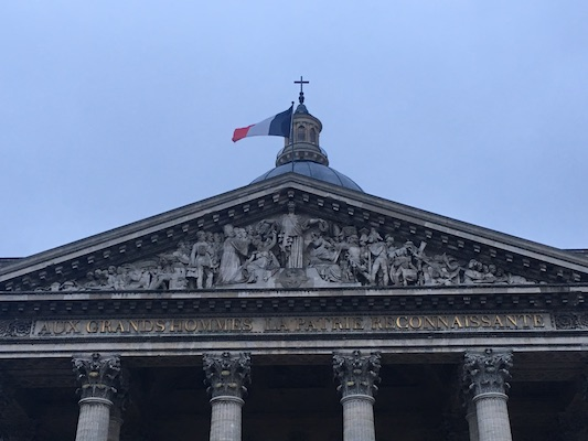 Facade of the Pantheon in the Latin Quarter of Paris