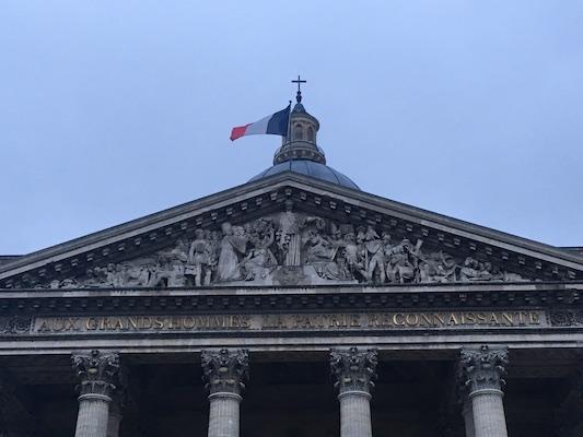 Facade of the Pantheon in the Latin Quarter of Paris