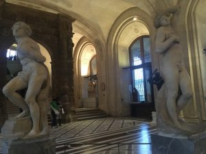 Statues of the Rebellious Slave and the Dying Slave of Michelangelo in Louvre
