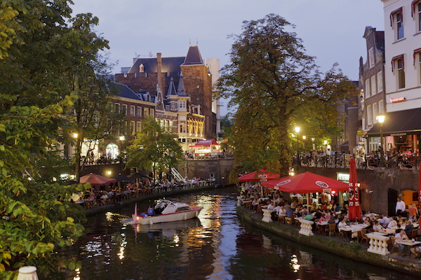 Panorama sul canale Oudegracht di Utrecht