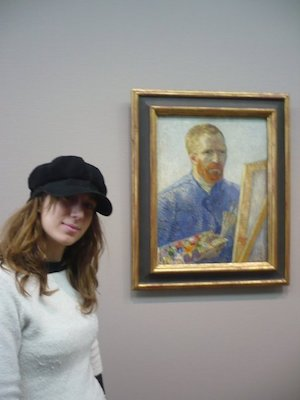 Selfie with a Self Portrait of Van Gogh in the Van Gogh Museum