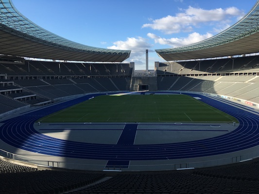 Soccer Field in the Olympiastadion of Berlin