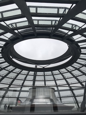 Inside the Glass Dome of the Reichstag of Berlin