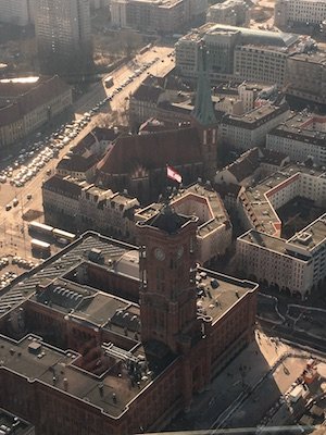 View over the Rotes Rathaus from the Television Tower of Berlin