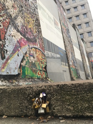 Lockers at the Fragments of the Berlin Wall in Postdamer Platz