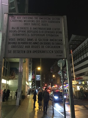 Crossing border sign at the Checkpoint Charlie