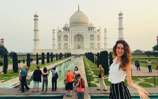 Photo with the Taj Mahal in my travel to India