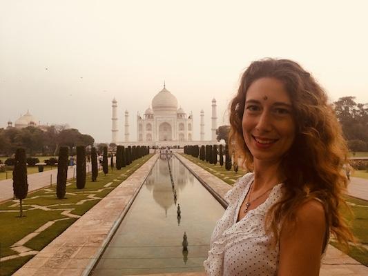 Primo piano con il Taj Mahal nel mio viaggio in India