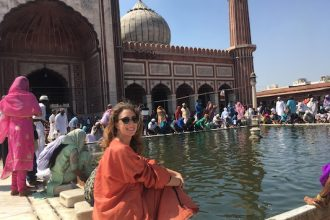 Wearing the orange vest at the Jama Masjid in Delhi in 2 days
