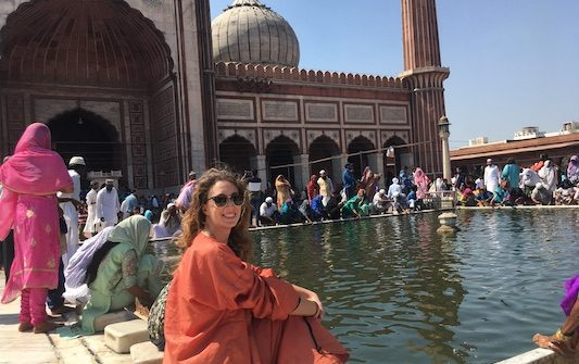 Wearing the orange vest at the Jama Masjid in Delhi in 2 days