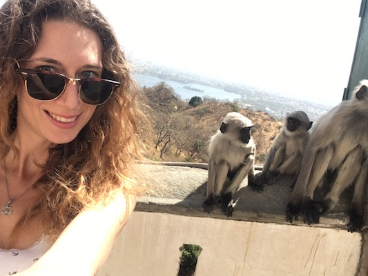 Selfie with the monkeys at the Monsoon Palace