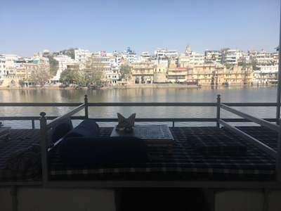 View over Pichola Lake from the terrace of a restaurant in Udaipur