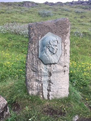 Sign in memory of Sigridur at the Gullfoss Waterfall