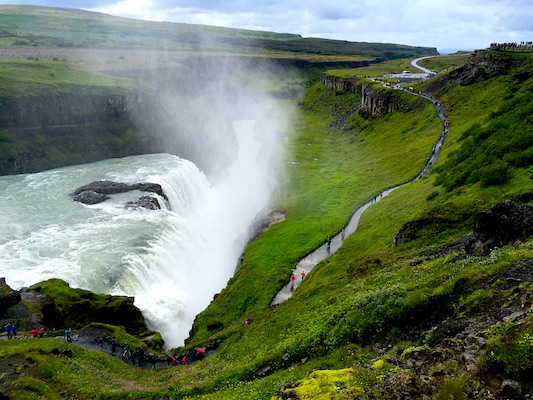 Canyon of Gullfoss Waterfall along the Golden Circle in Iceland