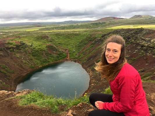 Me at Kerid Crater along the Golden Circle in Iceland