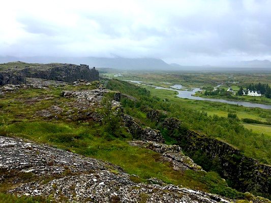 Ocean ridge in Thingvellir Park in Iceland