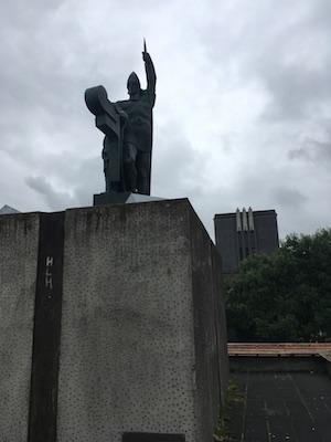 Arnarson Statue on Arnarhol Hill in Reykjavik