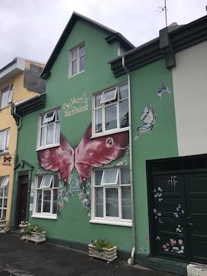 Outside Butterfly Guesthouse in Reykjavik