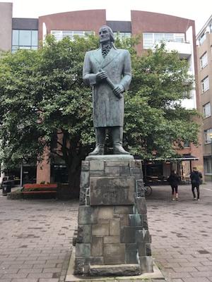 Statue of Skuli Magnusson in Fogetagardur Square in Reykjavik