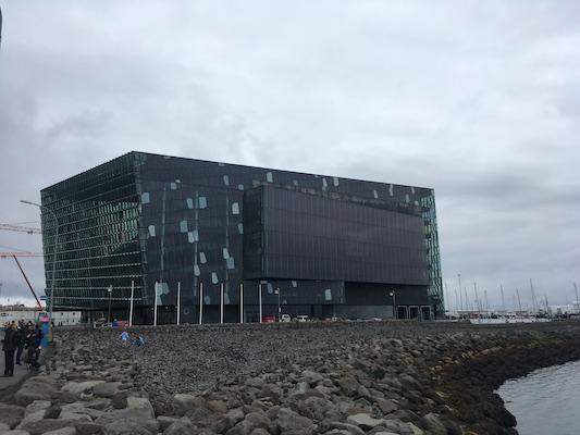 Outside Harpa in Reykjavik