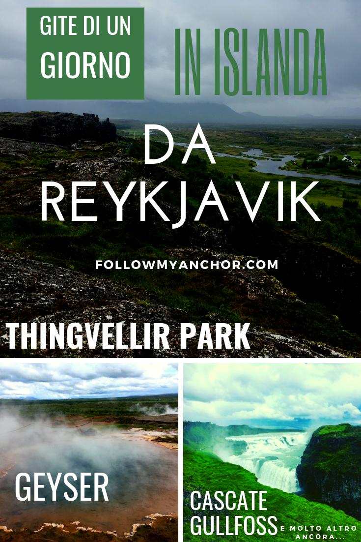 Gite di Un Giorno in Islanda da Reykjavik | Fai un viaggio in Islanda e sali in macchina verso il Circolo D\'Oro per ammirare paesaggi mozzafiato, come le meravigliose Cascate Gullfoss, gli incredibili geyser e lo spettacolare Thingvellir Park dove puoi passeggiare tra due zolle continentali. Immergiti nelle calde acque della Laguna Segreta. Leggi questo articolo per scoprire le tappe imperdibili dell\'Islanda raggiungibili in giornata da Reykjavik. #Islanda #TravelBlog