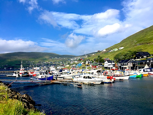 The little port of Vestmanna at the Faroe Islands