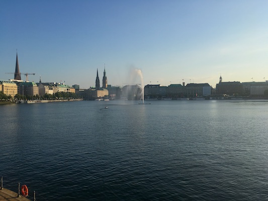View over Binnenalster Lake from Lombardsbruche Bridge in Hamburg