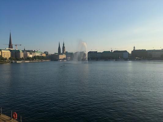 View over Binnenalster Lake from Lombardsbruche Bridge in Hamburg