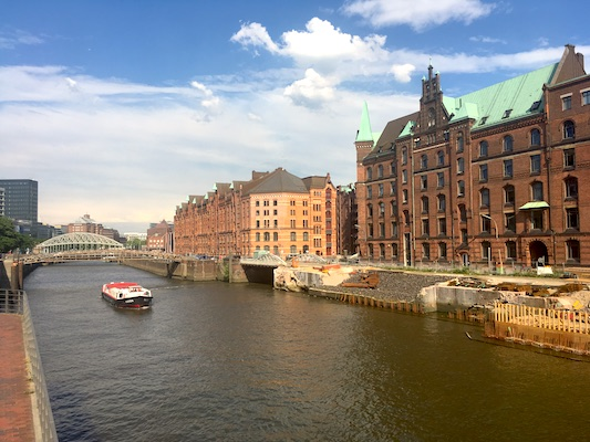 Warehouses overlooking the canals of Elbe river in Hamburg