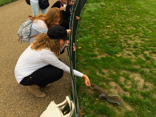 With a squirrel in Hyde Park