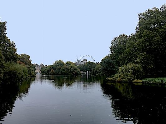 Panorama su London Eye da St. James Park