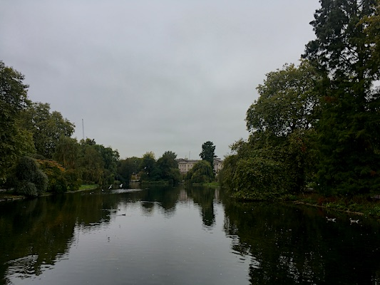 View over Buckingham Palace from St. James Park's bridge