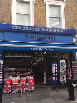 Negozio di souvenir Notting Hill al posto della libreria del film