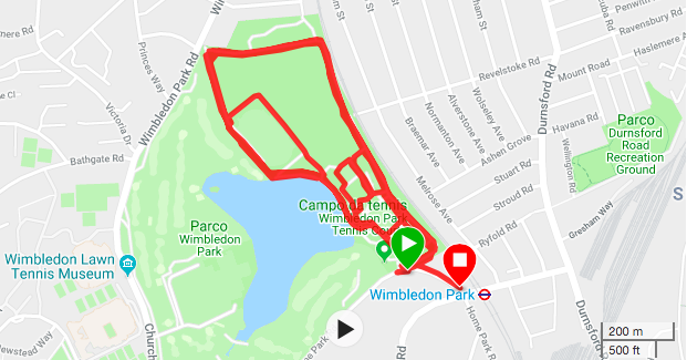 My 10k run in Wimbledon Park