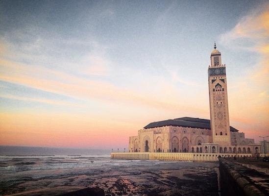 Hassan II Mosque at sunset