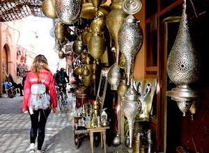 Walking around the Medina of Marrakech in my travel to Morocco