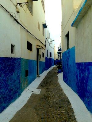 Case bianche e blu del quartiere Kasbah Les Oudaias