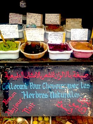Natural hair dye in the medina of Rabat